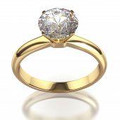 Diamant-Ring - isoliert auf weißem Hintergrund mit Beschneidungspfad