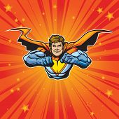 Generic superhero figure flying forward at a fast pace. Layered & easy to edit. See portfolio for si