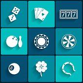 Casino and Gambling Flat Icons
