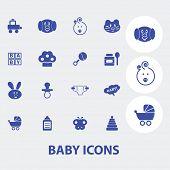 baby, children, toys icons set, vector
