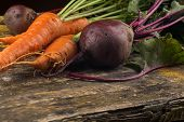 Fresh Carrot And Beetroot On Table