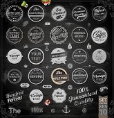 Vector set of calligraphic vintage elements: page decoration, Premium Quality and Satisfaction Guarantee Label, antique and baroque frames | Chalkboard background. Black design variant. Chalk style.