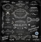 Vector set of calligraphic vintage elements: page decoration, Premium Quality and Satisfaction Guara