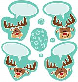 Vector Stickers Of Cute Happy Deers
