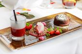 Triple Dessert With Chocolate And Strawberry On Wedding Table Set.