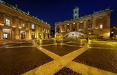Piazza Del Campidoglio On Capitoline Hill With Palazzo Senatorio And Equestrian Statue Of Marcus Aur