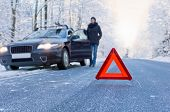 picture of breakdown  - Car breakdown on a country road in winter - JPG