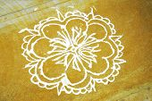 stock photo of rangoli  - a rangoli art drawn on a floor which shows the culture and tradition in tamilnadu india - JPG