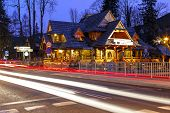 Regional Restaurant Building At Night In Zakopane