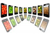 Mobile Phones With Images Of Different Vegetables