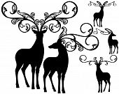 stock photo of deer horn  - fantasy deer silhouettes with ornate horns for festive design  - JPG