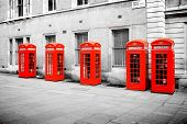 The five red phone boxes in London