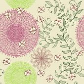 Seamless Elegant Soft Pastel Pattern With Hand Drawn Flowers