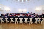 MOSCOW - OCT 10: Business meeting of representatives of 10 th anniversary of report and election of