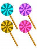 Set Of Four Sweet Lollipop