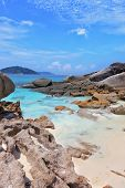 Similansky islands, Andaman Sea, Thailand. The thinnest white sand of a beach adjoins with huge brow