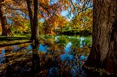 stock photo of guadalupe  - Beautiful Reflections of Fall Foliage On The Guadalupe River - JPG