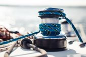 stock photo of cord  - Closeup on yacht cord crank - JPG