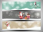 Merry Christmas celebration website header or banner set decorated with Santa Claus, Snowman and gift boxes.
