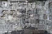 Bas-relief  In Borobudur Temple. Jogjakarta