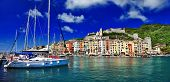 Beautiful Ligurian coast of Italy .Portovenere. Cinque terre
