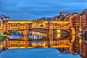 Ponte Vecchio in Florence at night, Italy
