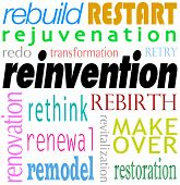 stock photo of start over  - Reinvention Word Redo Restart Rebuild Background - JPG