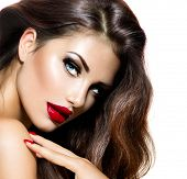 stock photo of long nails  - Sexy Beauty Girl with Red Lips and Nails - JPG