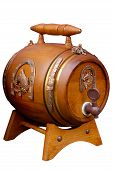 Antique Wooden Small Beer Barrel Retro Object Isolated poster