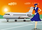 Stewardess with airplane travel background