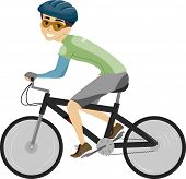Illustration of a Man Dressed in Biking Gear Pedaling on His Bike