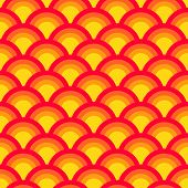 Colorful asian scallop seamless pattern in red and yellow, vector