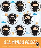 Collection of cartoon ninjas with different faces, vector illustration