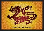 Traditional Asian Dragon on golden background, vector illustration