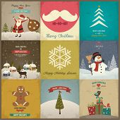 Set of Christmas greeting card. Vector