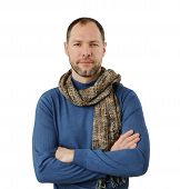 Romantic Man In Scarf Isolated On The White Background