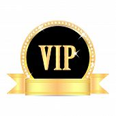 image of precious stones  - medal with the word vip and golden ribbon isolated on white background - JPG