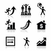 Success in business, self development icons set