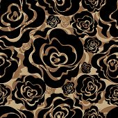 Seamless Vintage Grunge Floral Pattern With Roses