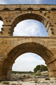 Closeup View Of Roman Built Pont Du Gard Aqueduct, Vers-pont-du-gard In South Of France.