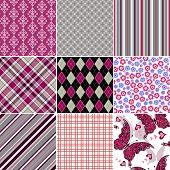Set Seamless Colorful Vintage Pattern