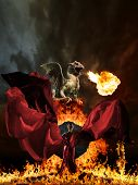 picture of woman dragon  - Glamour woman in red dress and dragon - JPG