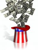 image of one hundred dollar bill  - Illustration of money falling into Uncle Sam top hat - JPG