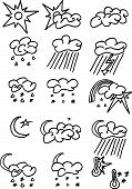 Full Page Of Fun Hand-drawn Doodles On A Weather Theme poster
