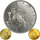 Vector Spanish  Money Gold And Silver Coin One Peseta