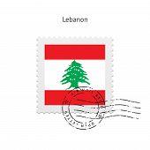 Lebanon Flag Postage Stamp.