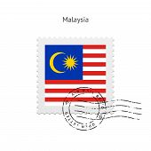 picture of malaysia  - Malaysia Flag Postage Stamp on white background - JPG