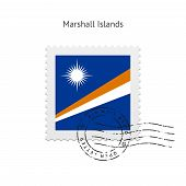 Marshall Islands Flag Postage Stamp.