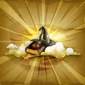 Wizard hat and old book, old style vector background