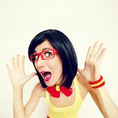 pic of cheeky  - fashion funny portrait of attractive surprised girl - JPG